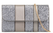 Womens Large Glittery Colour Block Clutch Bags