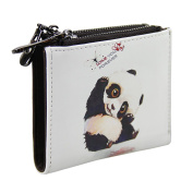 Leather Bifold Wallet with Double Zipper Pockets for Women Teenage Girl, Cartoon Animal Card Coin Purse, Money Clip