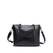 NICOLE & DORIS New Tote Handbag Shoulder Bag Crossbody Bag Women Purse Large Bag PU Leather Black