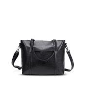 NICOLE & DORIS New Tote Handbag Shoulder Bag Crossbody Bag Women Purse Large Bag PU Leather Black