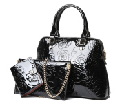 Yan Show Women's Patent Leather Shoulder Bag Embossed Handbag With Matching Wallet Purse 3 Pieces Set