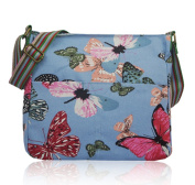 Large Blue Messenger bag with Butterfly Print