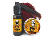 Mens Grooming Set Whiskey on the Rocks Fragrance - Moustache Wax, Beard Oil & Pocket Size Beard and Tache Comb presented in a red velvet drawstring travel bag