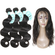 HmtAfro Body Wave 360 Frontal Lace Closure and Brazilian Hair Weave Natural Colour