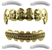 14K Gold Plated Grillz Fangs With Crosses + 2 EXTRA Moulding Bars