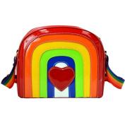 LA HAUTE Women Girls Rainbow Pu Shoulder Bags Fashion Mini Square Bags Sports Bags Satchel Messenger Bags