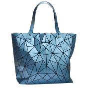 LA HAUTE Women Fashion PU Tote Bags Rhombus Pattern Shoulder Bags Top Handle Bags,Blue