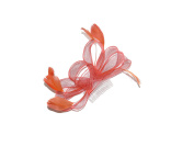 BEAUTIFUL CORAL HAIR FASCINATOR ON CLEAR COMB - WEDDINGS RACES