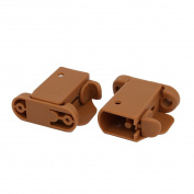 sourcingmap® 21mmx30mm Plastic Left Right Side Crib Guardrail Fence Buckle Set Brown w Spring