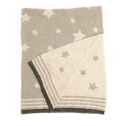 Zippy Baby Reversible Blanket in Grey Stars for Nursery Cot and Pram, 100% combed cotton knitted, Perfect Gift