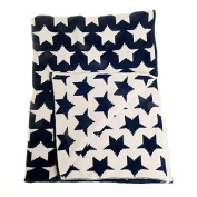 Zippy Baby Reversible Blanket in Navy and White Stars for Nursery Cot and Pram, 100% Chenille knitted, Perfect Gift