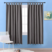 Thermal Insulated Blackout Windows Curtains - PONY DANCE Short Blackout Tab Top Curtains Short Curtains Draperies for Living Room Bay Window / Windows Treatment, 2 Pcs, 140cm x 170cm Each Panel, Grey