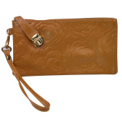 AiSi Women's Soft Leather Wristlets Wallet Rose Pattern Cow Leather Purse Clutch with Buckle Lock-Apricot