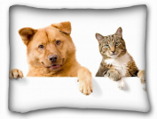 Decorative Standard Pillow Case Animals dog cat s funny couple 50cm *70cm One Side