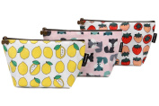 Sea Team 3pcs Waterproof Fabric Cosmetic Bags Portable Travel Toiletry Pouch Makeup Organiser Clutch Bag with Zipper