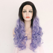 Ebingoo Handmade 2 Tones Synthetic Lace Front Wigs Dark Roots Black to Purple Ombre Women Heat Resistant Straight Hair(46cm ) by Ebingoo.