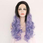 Ebingoo Handmade 2 Tones Synthetic Lace Front Wigs Dark Roots Black to Purple Ombre Women Heat Resistant Straight Hair(46cm ) by Ebingoo.
