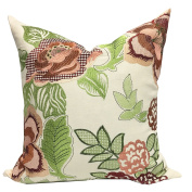 Home Accent Embroidered Aletha Floral Leaf Cotton Pillow