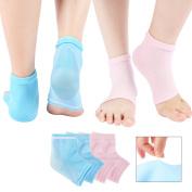 Moisturising Gel Heel Socks, Scheam Vented Toe Open Feet Care Treatment Socks for Dry Hard Cracked Skin with Spa Quality Botanical Gel Pack of 2