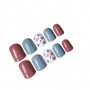 JINDIN 24 Sheet Square Fake Nails Full Cover With Short Design False Acrylic Nail Tips Multi Colour Press On Nail Decals