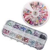 iMeshbean® Colourful 1200pcs Mixed Nail Art Tips Glitters Rhinestones Beautiful Decoration Manicure Wheel + 3600pcs 3D Nail Art Shining Decoration Rhinestones USA