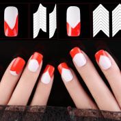 Nizi Jewellery Nail Art Stickers 100 Sheets French Style Nail Manicure DIY Nail Art Tips Guides Stencil Strip Nail Art Tool White Decals 04 100 SHEETS
