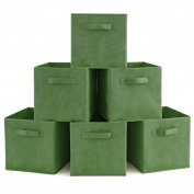 Set of 6 Foldable Fabric Basket Bin- EZOWare Collapsible Storage Cube For Nursery Home and Office - Kale Green