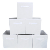 Set of 6 Foldable Fabric Basket Bin, EZOWare Collapsible Storage Cube For Nursery, Office, Home Décor, Shelf Cabinet, Cube Organisers - White