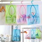 Bathroom Storage Clothespin Mesh Bag Hooks Hanging Bag Organiser Shower Bath New