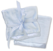 2 Blue Security Blankets, Baby Blankie Small Mini Blanket, 38cm x 38cm , Set of 2, Satin Trim, 2 Pack