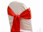 Mds Pack of 125 satin chair sashes bow for wedding and Events Supplies Party Decoration chair cover sash -red