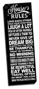 House Rules Black Quote 30cm x 90cm Wall Decoration Typography Art Image Printed on Canvas Stretched & Framed Ready to Hang
