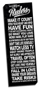 Life Rules Black Quote 30cm x 90cm Wall Decoration Typography Art Image Printed on Canvas Stretched & Framed Ready to Hang