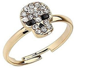 Multi Clear Crystal Encrusted Skull with Black Gem Eyes Adjustable Brass Mid Range Toe Ring Fits Fingers and Toes Nail