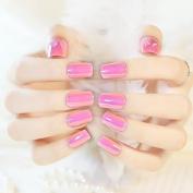 EchiQ Pink AB Nail Art False Nails Abalone Shiny Surface Flat Acrylic Full Nail Tips Kit 24pcs in 10 Sizes
