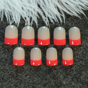 EchiQ Classic Red French Nails Beige False Nails Acrylic Finger Decoration Pre-designed Tips