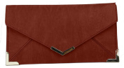 Papaya Fashion Faux Leather Envelope Bag in Dark Red, size