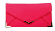 Papaya Fashion Faux Leather Envelope Bag in Neon Pink, size