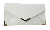 Papaya Fashion Faux Leather Envelope Bag in White, size