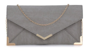 Papaya Fashion Faux Leather Envelope Bag in Grey, size