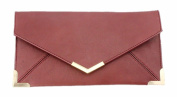 Papaya Fashion Faux Leather Envelope Bag in Maroon, size