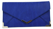 Papaya Fashion Faux Leather Envelope Bag in Splash Blue, size