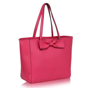 Women Designer Shoulder Top Handle Trendy Tote Bag With Front Bow Tie Faux Leather Handbag With Polka Dots Fabric Inside