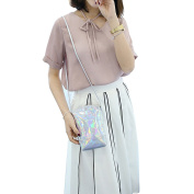 Cuddty Silver Hologram Leather Small Crossbody Cell Phone Purse Wallet Smartphone Bags For Girls Women