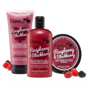 I Love… Blackberry & Raspberry Shower Gel, Shower Smoothie and Body Butter Trio Pack
