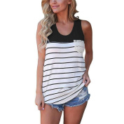 Kingfansion Women's Fashion Stripe Lace Pocket Tank Top Sleeveless Tops