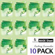 Collagen Facial Sheet Mask Pack (10 Sheets) Face Treatment [NAISTURE] Essence Face Masks - 15 Minute Application For Moisturising Revitalising Hydration 25ml, Made in Korea - Cooling Cucumber