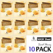 Collagen Facial Sheet Mask Pack (10 Sheets) Face Treatment [NAISTURE] Essence Face Masks - 15 Minute Application For Smooth Moisturising Revitalising Hydration 25ml, Made in Korea - Sweet Honey