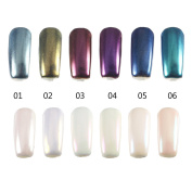 Nail powder,DANCINGNAIL 6 Colours 5G/Box Magic Mirror Chrome Pearl Shell Lustre Powder Dust DIY Nail Decorations