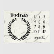 Month Milestone Baby Blanket - Eggshell Black Wreath - Frame - 50 X 60 - Plush Fleece